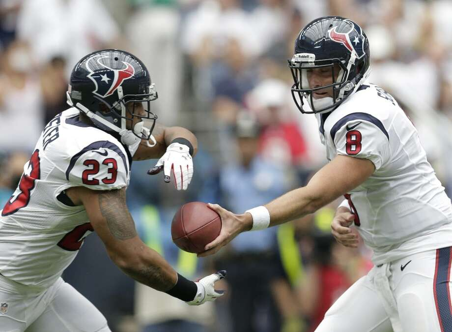 "3. Seattle's defense versus Matt Schaub, Arian Foster  Now in his seventh year as the quarterback of the Texans, Matt Schaub (pictured at right) still hasn't proven himself to fans as the best guy to lead the offense. He's a pocket-passer who's not as mobile as, say, Seattle's Russell Wilson, but he has veteran experience and knows how to pick apart an opposing defense. Perhaps his biggest threat to the Seahawks is his skill in the play-action, duping defenses into thinking run when it's a pass, or the other way around.  ""(Schaub) is really a pinpoint guy against tight coverage, like the really good ones are,"" Carroll said Wednesday. ""You can be all over a (receiver) and he can put the ball where the receiver's the only guy who can get it, and he does that a lot. So we think a lot of him. He's a pocket guy -- a little different, not going to run around a whole lot. But they handle that system really well with that system. He's in the picked with their protection and he does a great job. So it's tough.""  Houston's strong play-action offense is fueled by the running game. If you hadn't heard, running back Arian Foster (pictured at left) is really good. He perhaps hasn't gotten rolling yet this season -- with performances of 57, 79 and 54 yards against the Chargers, Titans and Ravens, respectively -- but he must not be ignored. Alongside fellow back Ben Tate, Foster gives Houston one of the most dangerous running games in the league. The Seahawks defense has struggled more against the run than against the pass this season, so watch Sunday for how well Seattle can shut down Foster and Tate. If the Seahawks can remove Houston's ground threat, they should be in good shape. Photo: Eric Gay, Associated Press"