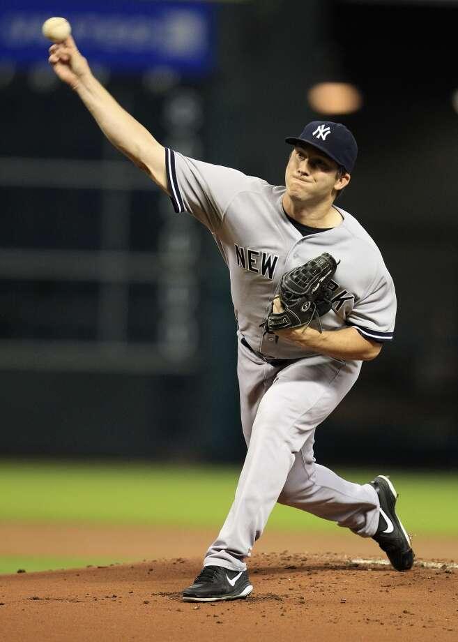 Yankees starter Adam Warren (43) pitches. Photo: Karen Warren, Houston Chronicle