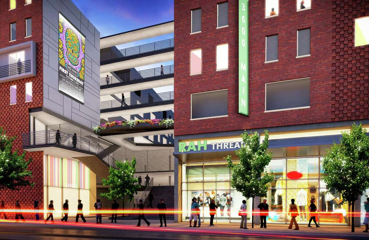 This rendering shows part of Mid Main along Main Street's light rail line. It will be a place where people can live and play and get to work by foot, rail, bike or car.