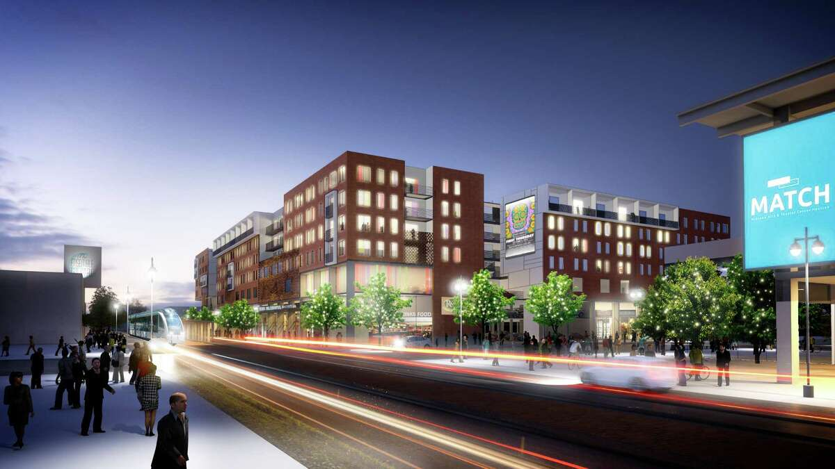 Rendering of the mixed-use residential project Mid Main which is along Main Street's light rail at the 3500 and 3600 blocks of Main.