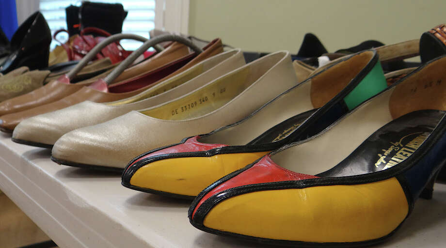 Shoes for all walks of life, in a range of styles, shapes and sizes, offered at the Westport Woman's Club tag sale. Photo: Mike Lauterborn / Westport News contributed