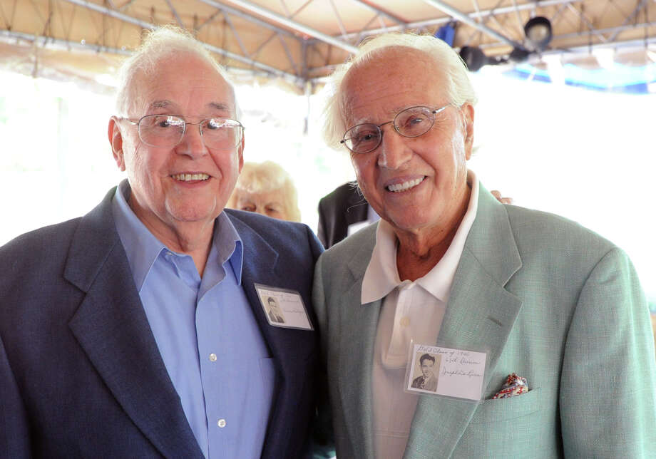 Former Greenwich High School classmates, Vincent Bologna, 85, left, and Joseph DeLuca, 84, at the 67th reunion of the Greenwich High School Class of 1946 in the Fairways Restaurant at the Griffith E. Harris Memorial Golf Course, Greenwich, Saturday, Sept. 28, 2013. Photo: Bob Luckey / Greenwich Time
