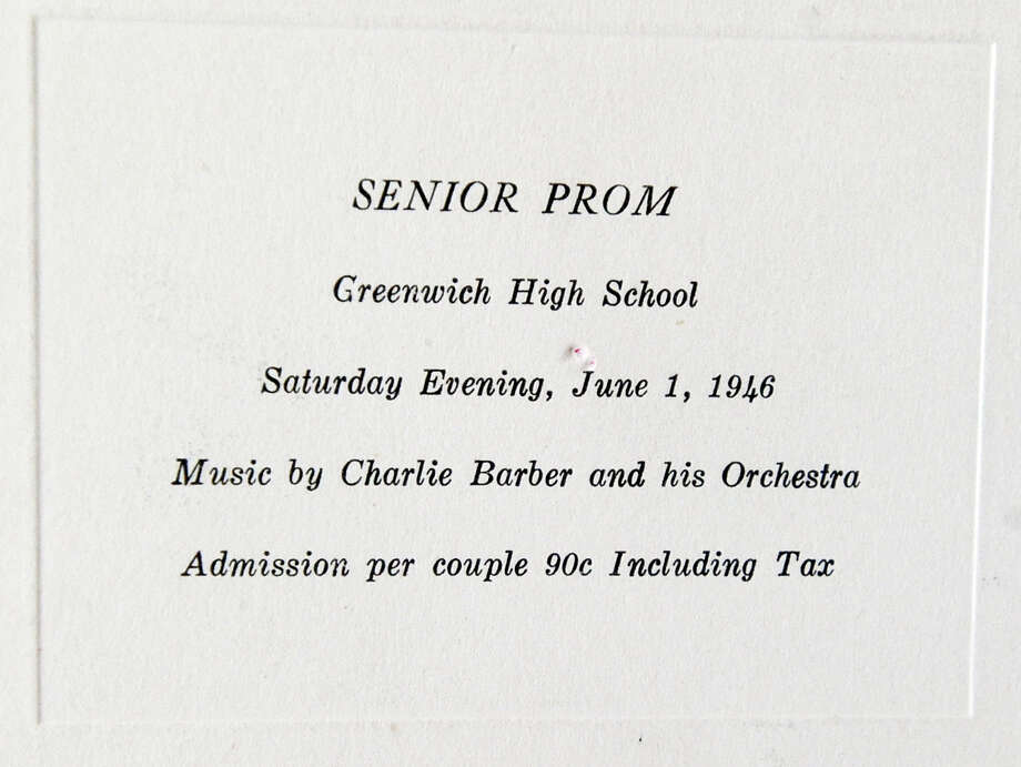 An announcement card for the Greenwich High School class of 1946 senior prom was on display during the 67th reunion of the Greenwich High School Class of 1946 in the Fairways Restaurant at the Griffith E. Harris Memorial Golf Course, Greenwich, Saturday, Sept. 28, 2013. Photo: Bob Luckey / Greenwich Time