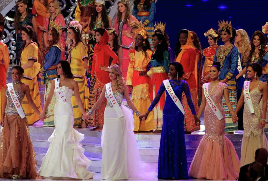 Contestants front row from left, Miss Gibraltar Maroua Kharbouch, Miss Spain Elena Ibarbian Jimenez, Miss Brazil Sancler Frantz Konzen, Miss Ghana Carranza Naa Okailey Shooter, Miss Philippines Megan Young and Miss France Marine Lorpheline during the grand final of Miss World 2013 pageant in Nusa Dua, Bali, Indonesia, on Saturday. Photo: AP