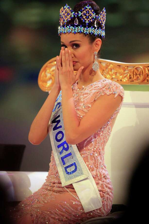Newly crowned Miss World, Megan Young of the Philippines, reacts. Photo: AP