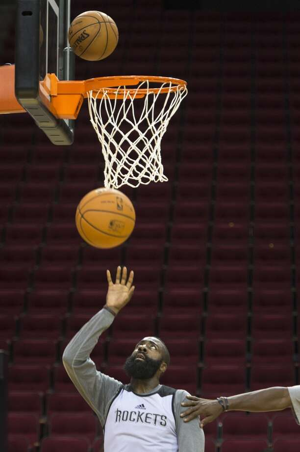 Rockets shooting guard James Harden puts up a shot during practice. Photo: Smiley N. Pool, Houston Chronicle