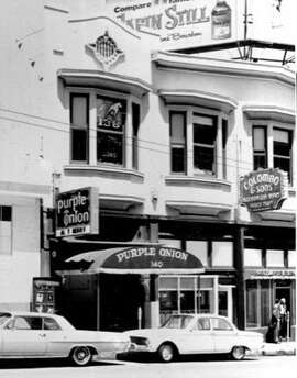 The Purple Onion circa 1960's. photo from the SF Library  Blair Butler onstage at the reopened Purple Onion.