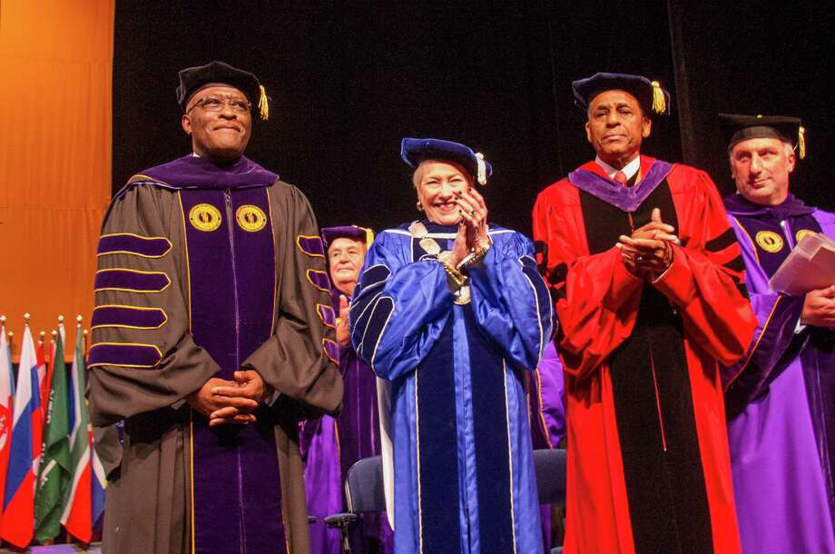 University at Albany President Robert Jones, left, SUNY Chancellor Nancy Zimpher, SUNY Board of Trustees Chairman H. Carl McCall, and University Council Chair Michael Castellana (right), Saturday, Sept. 28, 2013, at Jones' inauguration as the University at Albany's 19th president, held in the Performing Arts Center Main Theatre on the uptown campus, Albany. (Mark Schmidt/University at Albany)