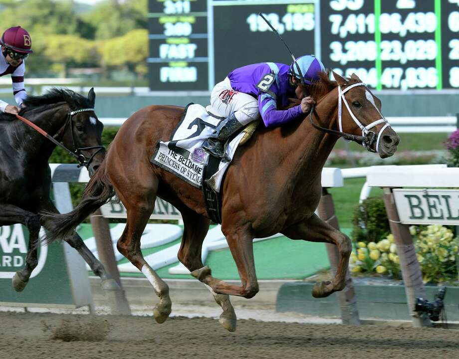 In this image provided by the New York Racing Association, Princess of Sylmar, ridden Javier Castellano, captures the  Beldame Invitational horse race at Belmont Park, Saturday, Sept. 28, 2013, in Elmont, N.Y. (AP Photo/NYRA) ORG XMIT: MER2013092815400462 / New York Racing Association