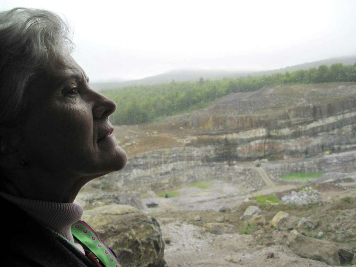 Former Assemblywoman Teresa Sayward is pictured Monday Spet. 16, 2013, at the NYCO Minerals mine in Willsboro, N.Y. Sayward is helping to promote a