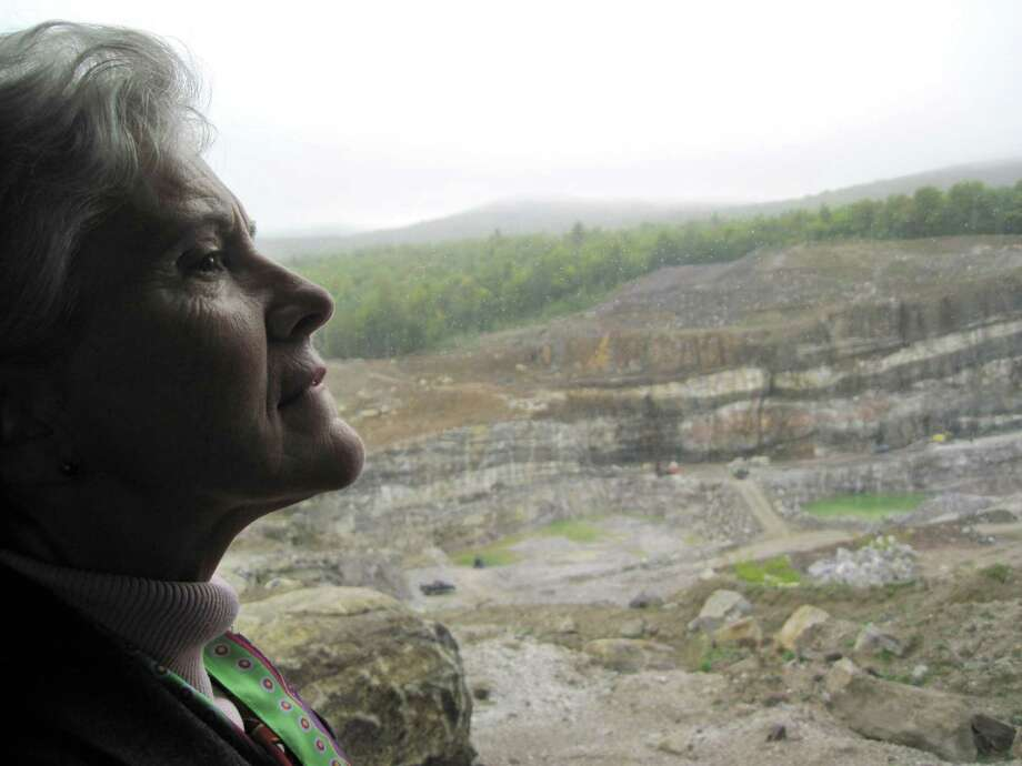 "Former Assemblywoman Teresa Sayward is pictured Monday Spet. 16, 2013, at the NYCO Minerals mine in Willsboro, N.Y. Sayward is helping to promote a ""yes"" vote which she believes will help keep jobs in the community. (Rick Karlin/Times Union)"