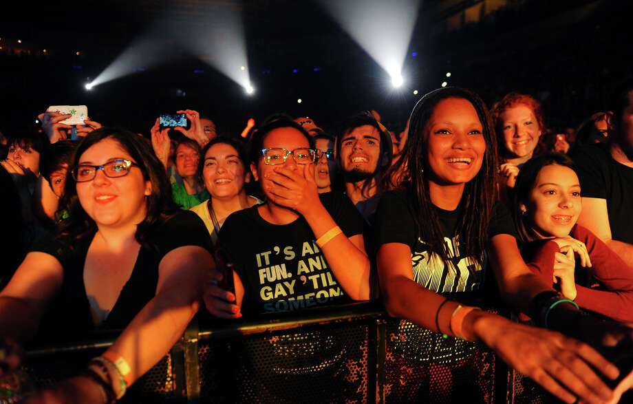 Fans react as Fun performs at the Webster Bank Arena in Bridgeport, Conn. on Saturday September 28, 2013. Photo: Christian Abraham / Connecticut Post