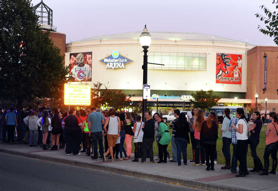 Fans outside waiting to see Tegan and Sara and Fun perform at the Webster Bank Arena in Bridgeport, Conn. on Saturday September 28, 2013. Fun, who won the Grammy Awards for Best New Artist and Song of the Year, were the headlining act. Photo: Christian Abraham / Connecticut Post