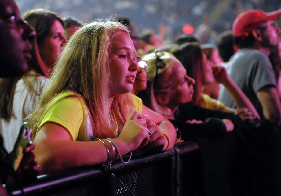 Fan Jess Dillon, 14, of Windsor, waits to see Tegan and Sara perform at the Webster Bank Arena in Bridgeport, Conn. on Saturday September 28, 2013. Fun, who won the Grammy Awards for Best New Artist and Song of the Year, were the headlining act. Photo: Christian Abraham / Connecticut Post