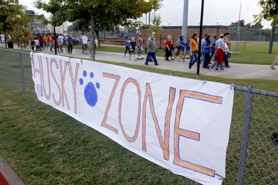 HBU fans enter the stadium before the start of the HBU Huskies vs the Oklahoma Baptist Bison. Photo: Thomas B. Shea, Houston Chronicle