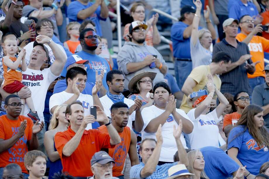 HBU fans cheer for HBU while the Huskies play against the Oklahoma Baptist Bison. Photo: Thomas B. Shea, Houston Chronicle