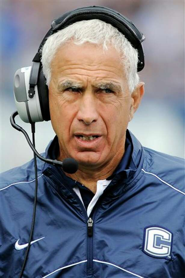 Connecticut head coach Paul Pasqualoni reacts during his team's 10-7 loss to North Carolina State in their NCAA college football game in East Hartford, Conn., Saturday, Sept. 8, 2012. (AP Photo/Fred Beckham) Photo: Fred Beckham, AP / FR153656 AP