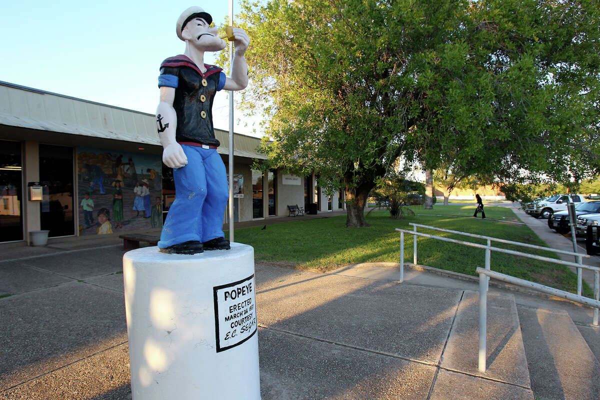 The statue of Popeye remains at the city Library where city council meetings are held on September 26, 2013
