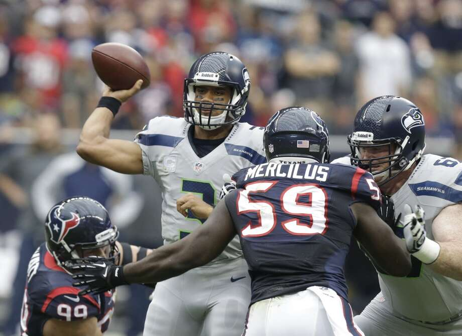 Seattle Seahawks' Russell Wilson (3) throws against the Seattle Seahawks during the first quarter an NFL football game Sunday, Sept. 29, 2013, in Houston. Photo: Patric Schneider, Associated Press