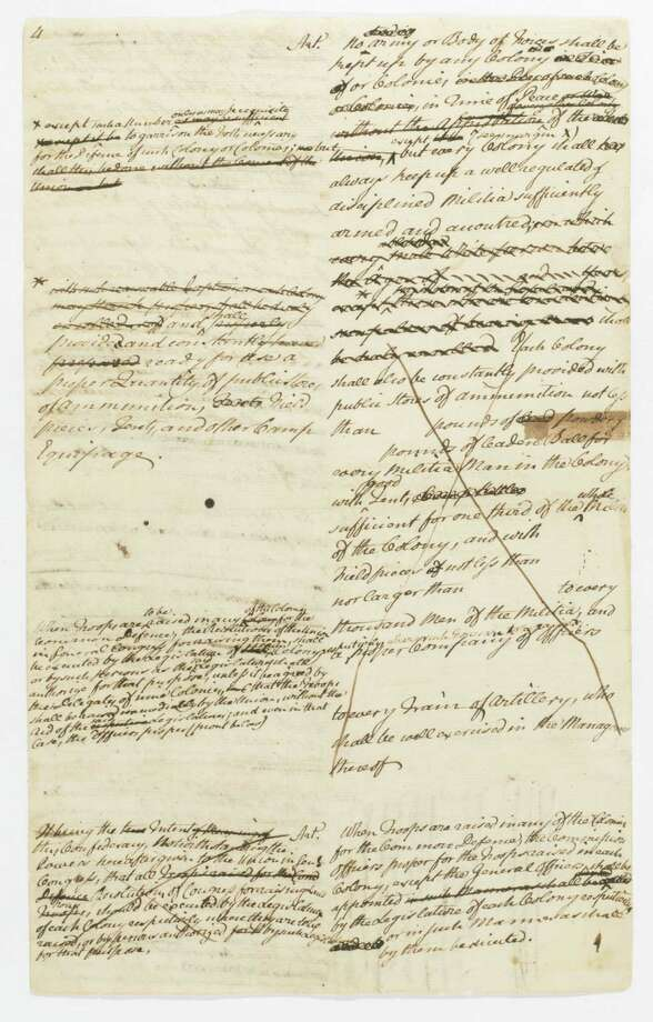 "This undated photo provided by the Historical Society of Pennsylvania shows an excerpt of a draft of the Articles of Confederation by John Dickinson from the R. R. Logan collection of Dickinson's papers. The society's new wesite charts the evolution of American freedom, a story of struggle and conflict through 50 carefully selected historic documents, from an early draft of the Articles of Confederation to a suffragette's letter to her parents to a 1970's tract on gay rights. The organization hopes its interactive ""Preserving American Freedom"" web site will gain favor with educators. Photo: AP"