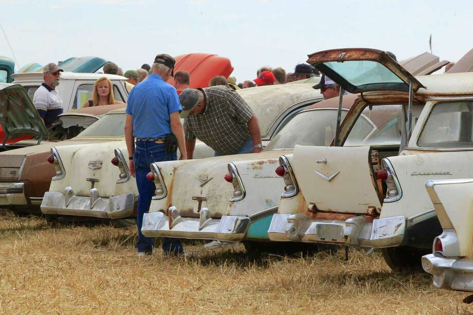 Cars are lined up during a preview for an auction of vintage cars and trucks from the former Lambrecht Chevrolet dealership in Pierce, Neb., Friday Sept. 27, 2013. Photo: AP