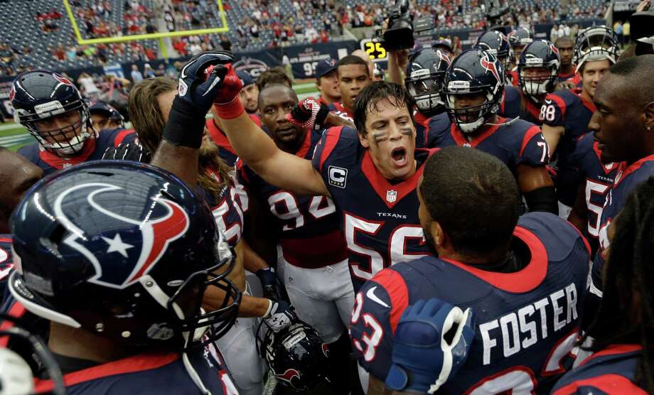 Houston Texans inside linebacker Brian Cushing (56) fires up his teammates before an NFL football game against the Seattle Seahawks Sunday, Sept. 29, 2013, in Houston. (AP Photo/David J. Phillip) Photo: David J. Phillip, Associated Press / AP