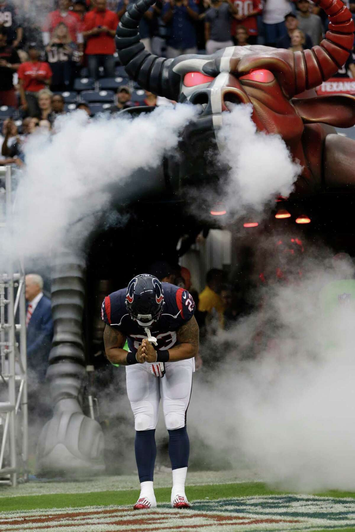 Houston Texans running back Arian Foster (23) is introduces before an NFL football game against the Seattle Seahawks Sunday, Sept. 29, 2013, in Houston. (AP Photo/David J. Phillip)