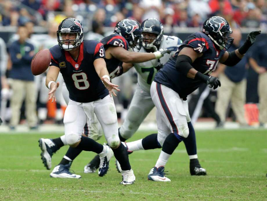 Houston Texans quarterback Matt Schaub (8) pitches the ball during the third quarter an NFL football game against the Seattle Seahawks Sunday, Sept. 29, 2013, in Houston. (AP Photo/Patric Schneider) Photo: Patric Schneider, Associated Press / FR170473
