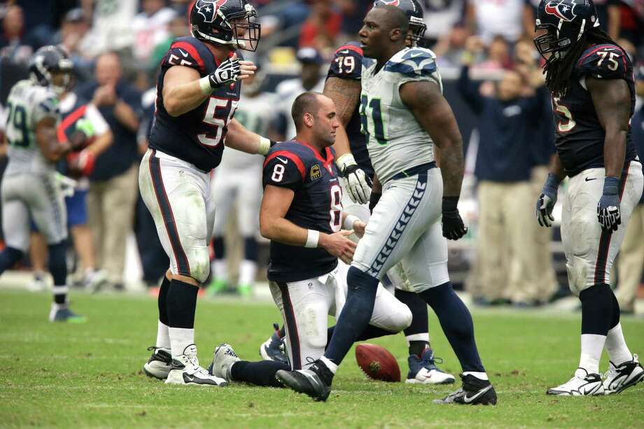 Houston Texans quarterback Matt Schaub (8) is slow to get up after being sacked during the fourth quarter an NFL football game Sunday, Sept. 29, 2013, in Houston. (AP Photo/Patric Schneider) Photo: Patric Schneider, Associated Press / FR170473