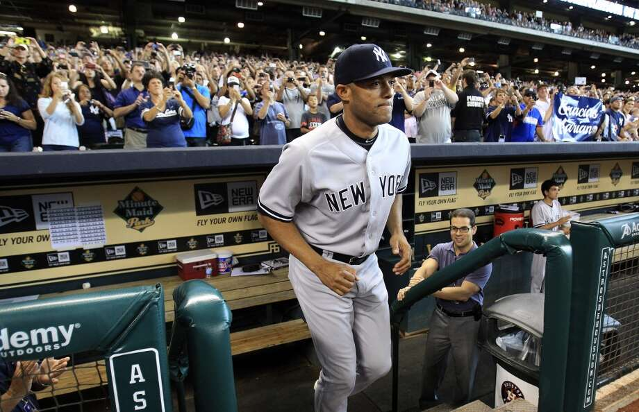 Yankees relief pitcher Mariano Rivera (42) is introduced during a pre-game ceremony Photo: Karen Warren, Houston Chronicle