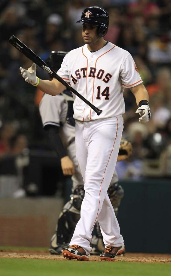 Left fielder J.D. Martinez strikes out during the 12th inning. Photo: Karen Warren, Houston Chronicle