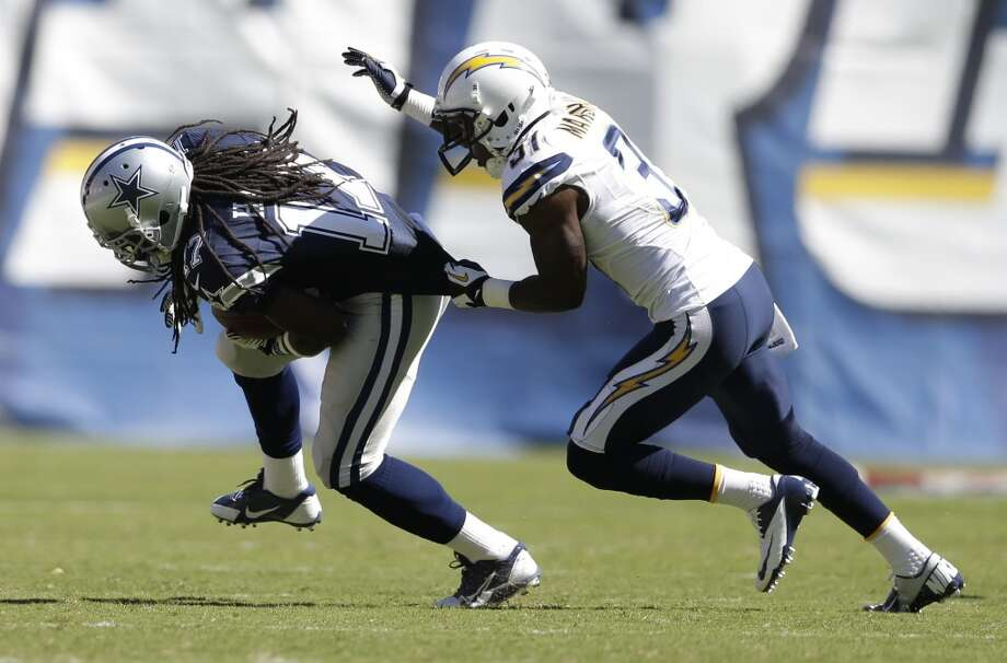 San Diego Chargers linebacker Larry English grabs Dallas Cowboys wide receiver Dwayne Harris during the first half of an NFL football game Sunday, Sept. 29, 2013, in San Diego. (AP Photo/Gregory Bull) Photo: Associated Press