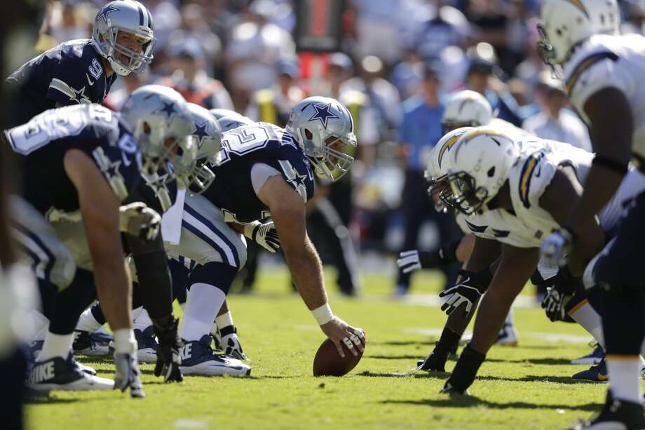 Dallas Cowboys line un against the San Diego Chargers during the first half of an NFL football game Sunday, Sept. 29, 2013, in San Diego. (AP Photo/Gregory Bull) Photo: Associated Press