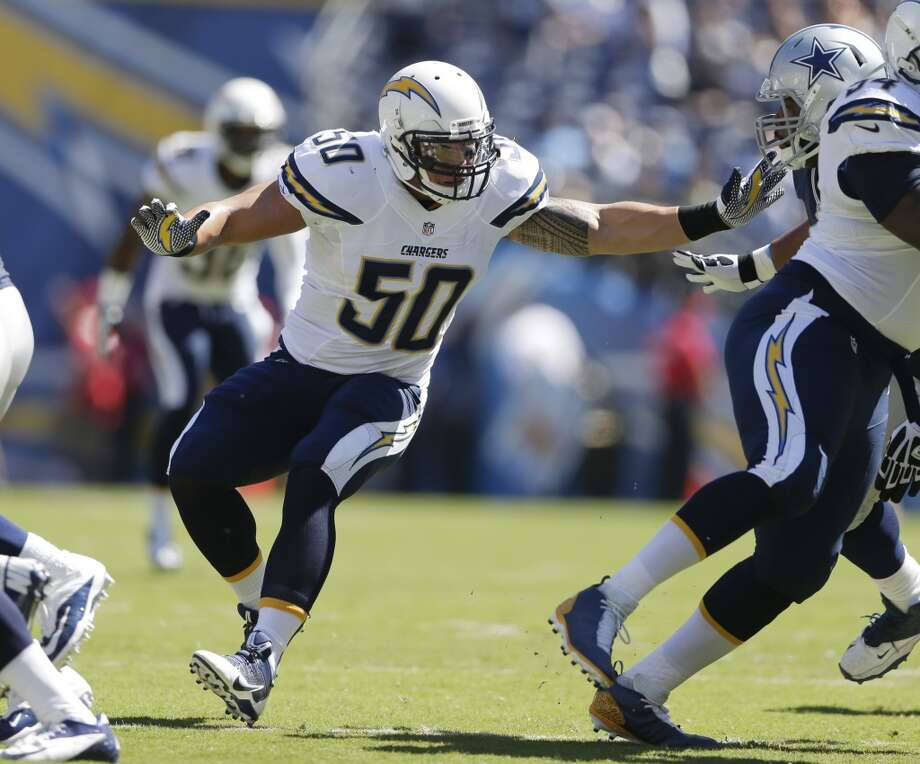 San Diego Chargers inside linebacker Manti Te'o plays against the Dallas Cowboys during the first half of an NFL football game Sunday, Sept. 29, 2013, in San Diego. (AP Photo/Gregory Bull) Photo: Associated Press