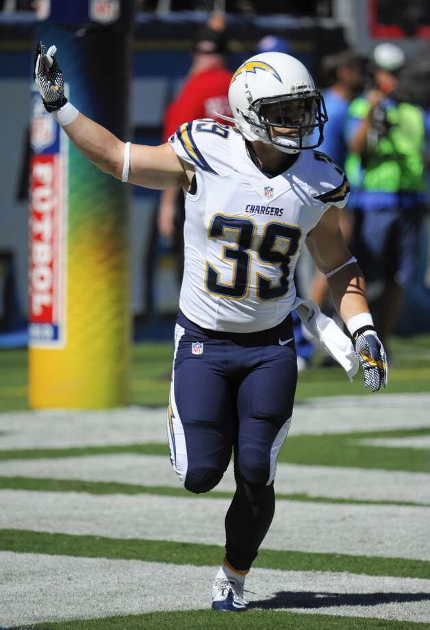 San Diego Chargers running back Danny Woodhead celebrates his touchdown against the Dallas Cowboys during the first half of an NFL football game Sunday, Sept. 29, 2013, in San Diego. (AP Photo/Denis Poroy) Photo: Associated Press