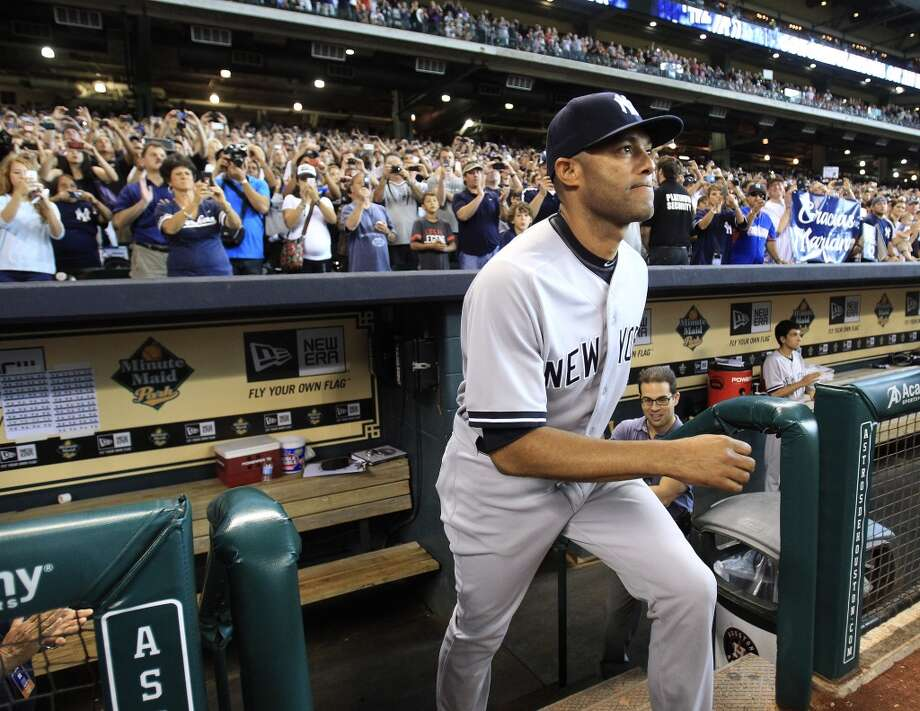 Yankees relief pitcher Mariano Rivera is introduced during a pre-game ceremony Photo: Karen Warren, Houston Chronicle