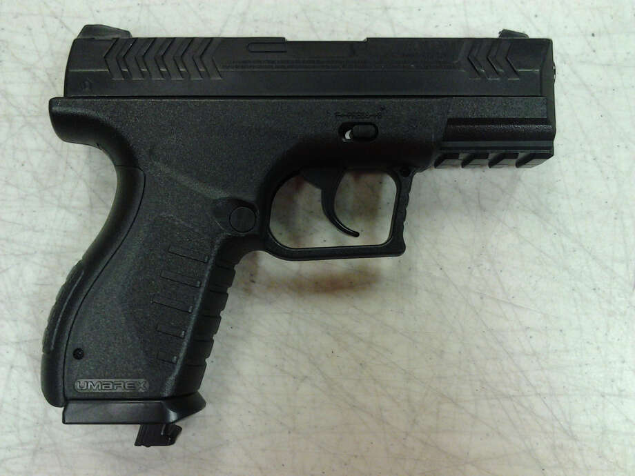 The pellet gun Troy police said they took away from two teens on Friday, Sept. 27, 2013. Police said officers can have a difficult time telling a pellet gun from a real firearm. (Troy Police Department)