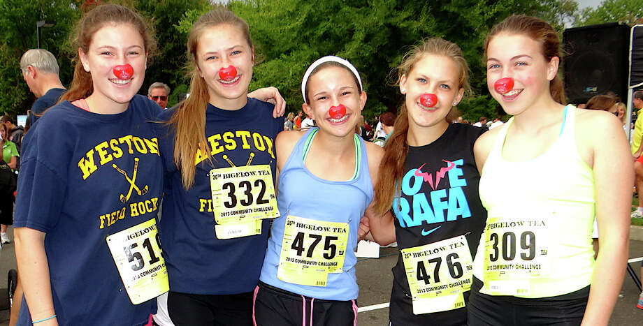 Weston High School lacrosse teammates Megan Quinn, 16; Julie Rogers, 16; Mimi Fellowes, 14; Lily Berkin, 13, and Berry Phillips, 14, on Sunday at the 26th annual Bigelow Tea Community Challenge. Photo: Mike Lauterborn / Fairfield Citizen contributed