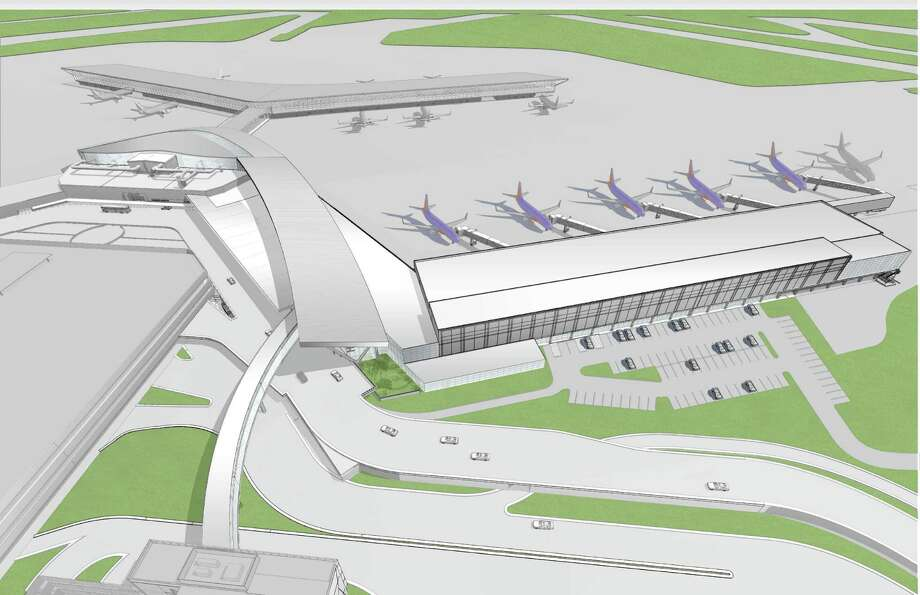 A rendering of the overall aerial view of Southwest Airlines' plan for expansion at Hobby Airport. Photo: Southwest Airlines
