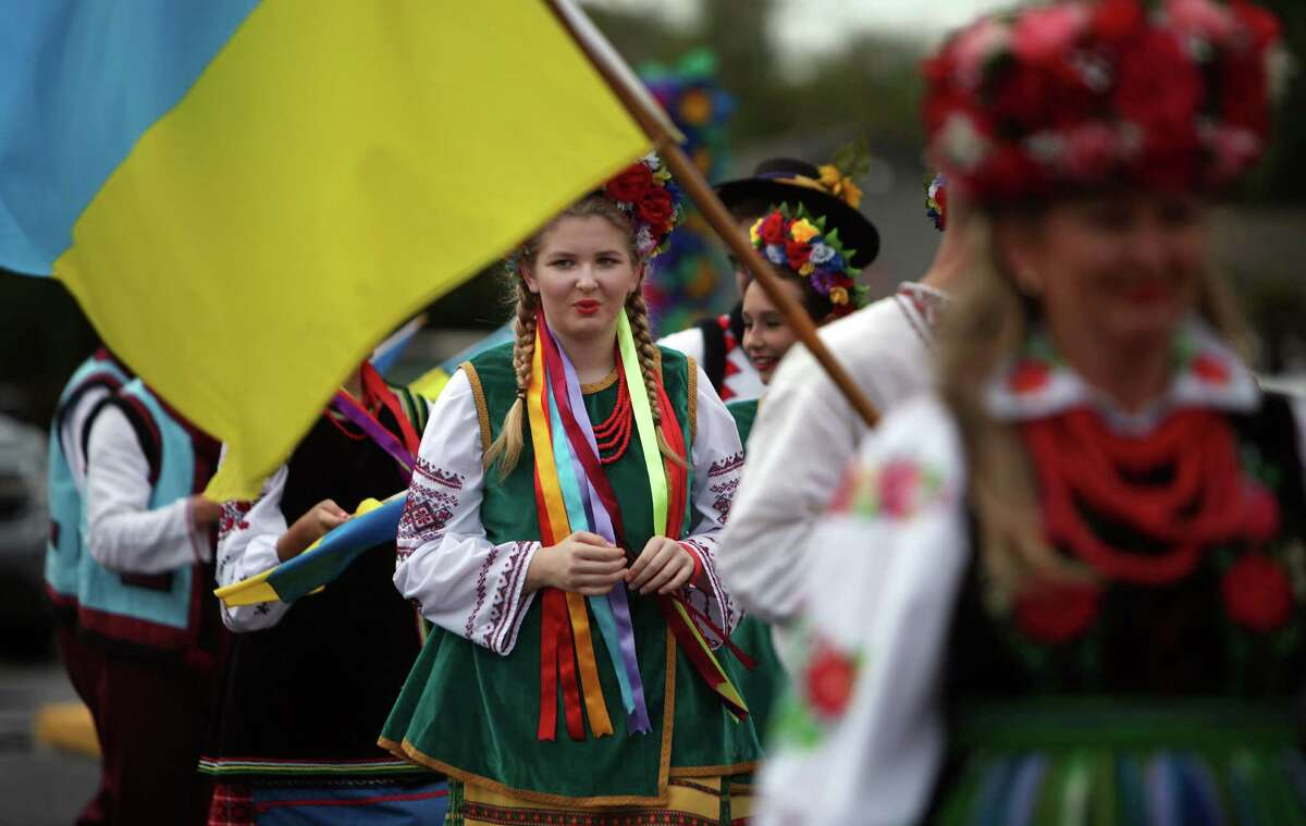 Elizabeth Bejmuk, 13, represents the Ukraine during the Parade of Slavic Costumes during the 50th Annual Sts. Gyril & Methodius Slavic Heritage Festival held at Knights of Columbus Hall and Grounds on Sunday, Sept. 29, 2013, in Houston.