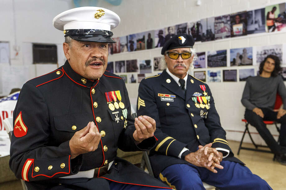 Manuel Valenzuela (left) and his brother Valente Valenzuela, both Vietnam War veterans, are at risk for deportation even though they were born to a mother who was a native of New Mexico. The brothers were erroneously listed as resident aliens on their birth certificates. Photo: Marvin Pfeiffer / San Antonio Express-News