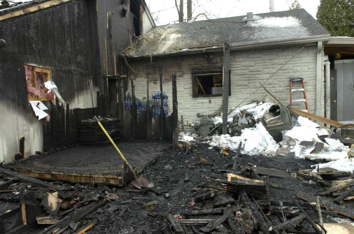 Fire damage from the December blaze at Valbella. Staff Photo Neafsey,Helen