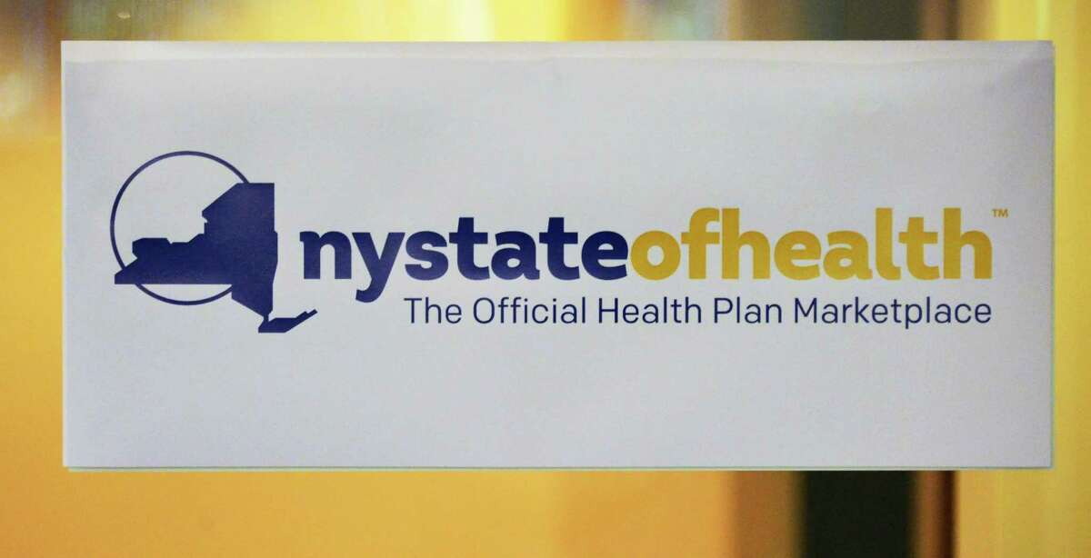 NY State of Health sign at the Maximus customer service center Thursday Sept. 19, 2013, in Albany, NY. (John Carl D'Annibale / Times Union)