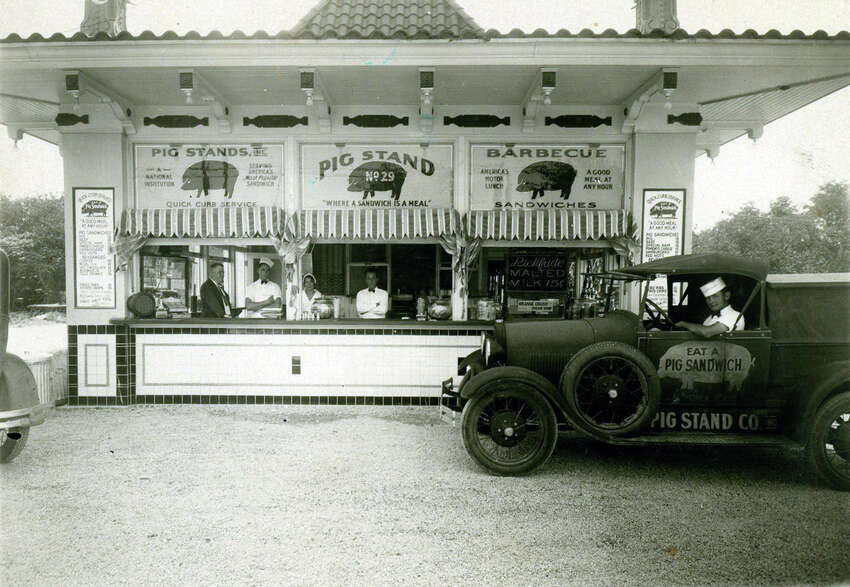 Shown here in 1931, the Pig Stand on Broadway is the last one surviving of a chain that once exceeded 130 and stretched from coast to coast. A bankruptcy filing in 2005 led to the closure of five other Pig Stand restaurants in Texas.