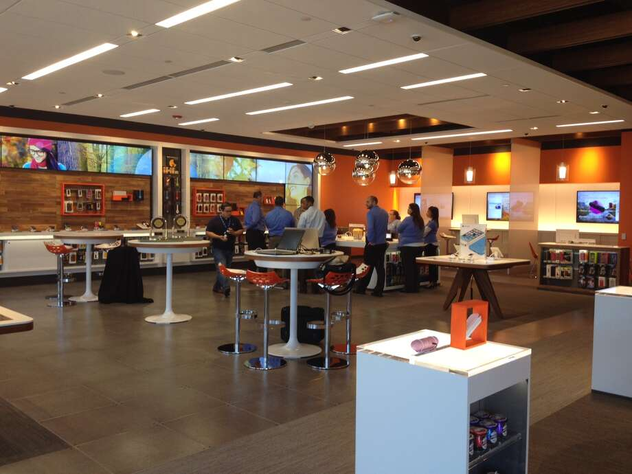 The newly designed AT&T store on Dowlen Road is one of three of its kind in the country. It opened on Saturday. Photo: Brooke Crum