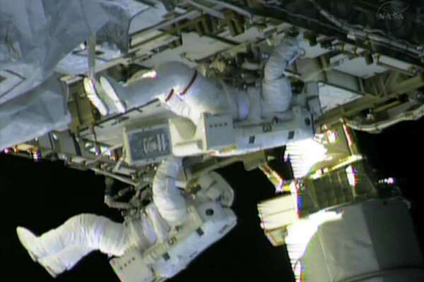 """In this still image taken from NASA TV, International Space Station (ISS) astronauts Chris Cassidy (top) and Tom Marshburn finish work on repairs to the ISS on May 11, 2013. The astronauts repaired an ammonia leak which was discovered May 9. NASA emphasised that the lives of the multinational crew were not in danger but both Russian and US space experts were scrambling to swiftly fix the problem. NASA said the leak of ammonia, which is used to cool the station's power system, was coming from the same general area as in a previous episode in November 2012.   == RESTRICTED TO EDITORIAL USE / MANDATORY CREDIT: """"AFP PHOTO / NASA TV / NO SALES / NO MARKETING / NO ADVERTISING CAMPAIGNS / DISTRIBUTED AS A SERVICE TO CLIENTS ==-/AFP/Getty Images"""