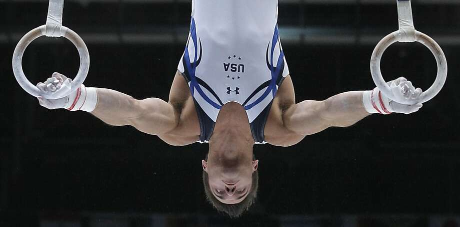 Gymnast Samuel Mikulak from the U.S. performs the rings exercise, during the qualification round at the artistic gymnastics World Championships in Antwerp, Belgium, Monday, Sept. 30, 2013. The event takes place from Sept. 30, until Sunday, Oct. 6. Photo: Yves Logghe, Associated Press