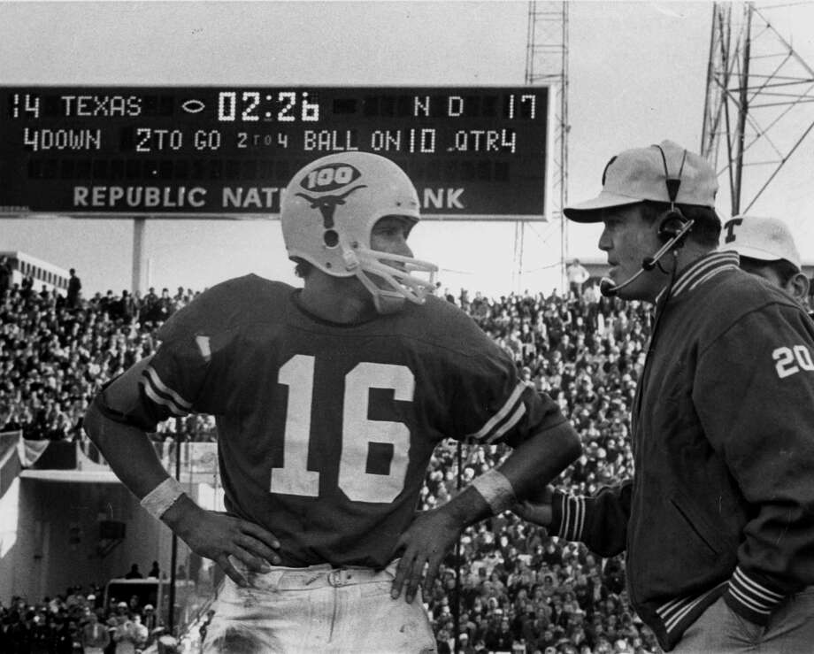 James Street: Hero of the 1970 Cotton Bowl, leading a 17-play drive to a touchdown and the Longhorns' 500th all-time win and second national title. The play is considered by some to be the most famous drive in Texas history. At right is Coach Darrell Royal. Photo: Courtesy Photo / University Of Texas