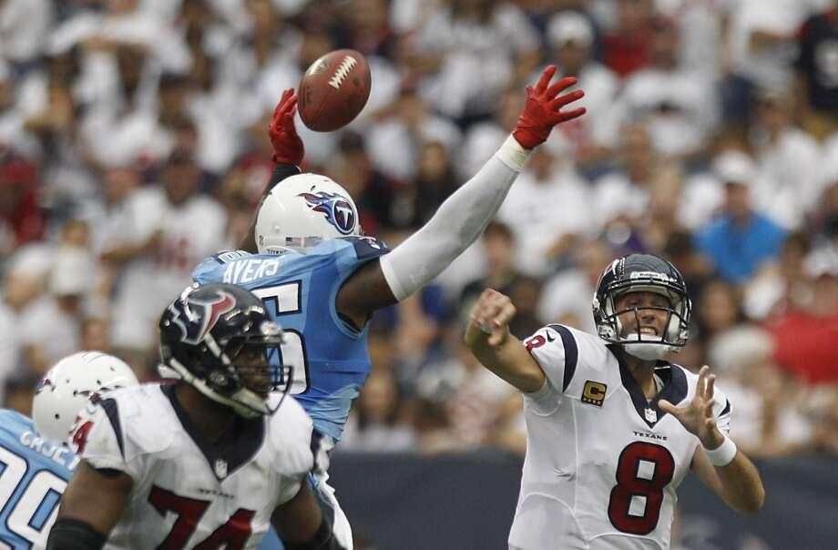 Week 2 vs. TitansTennessee Titans outside linebacker Akeem Ayers knocks down a pass by Matt Schaub during the second quarter. Photo: Brett Coomer, Houston Chronicle