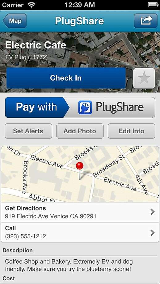 The PlugShare app helps electric car drivers locate nearby public charging stations and the amenities they offer.